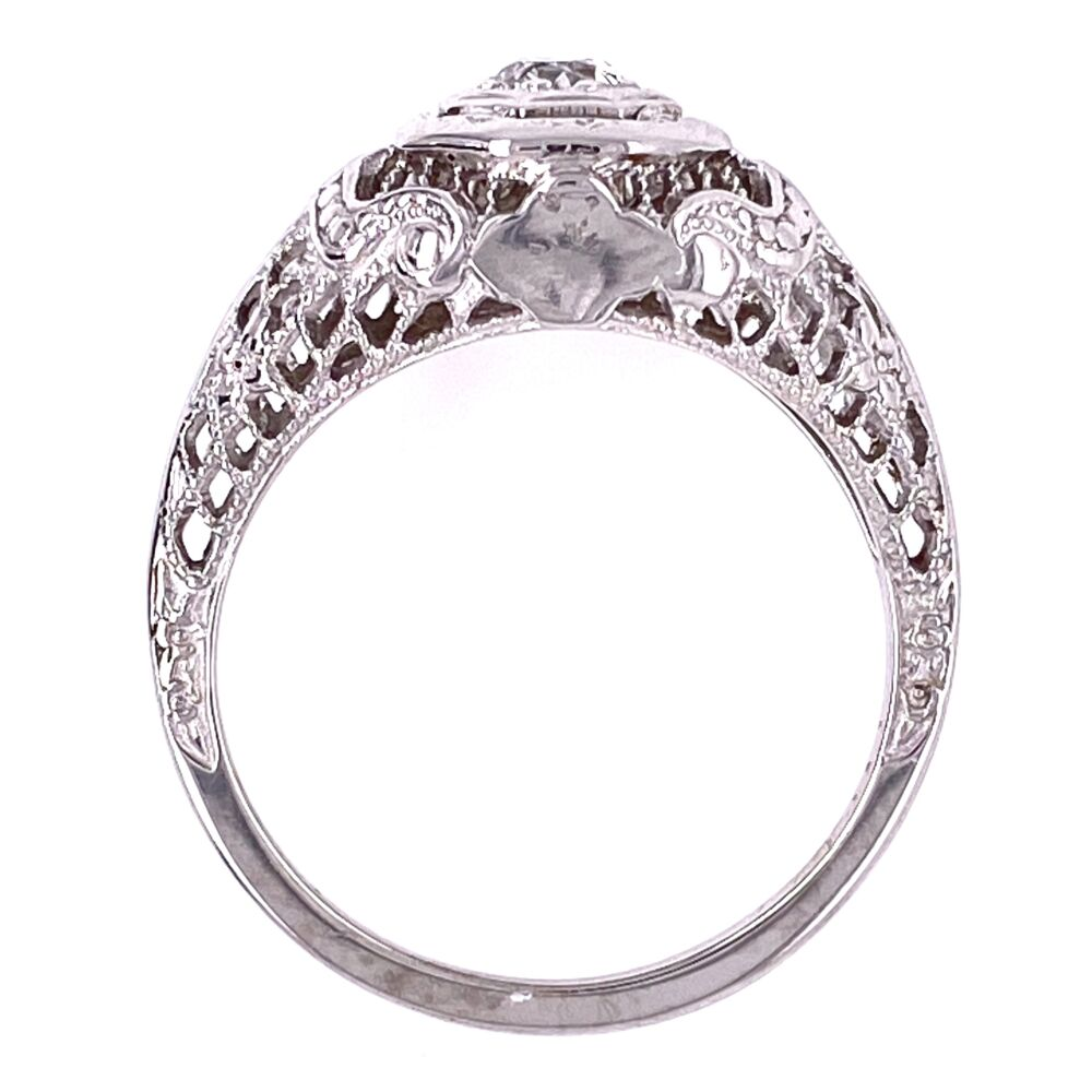 Image 2 for 18K WG Art Deco .17ct OEC Diamond Filigree Ring, s5.5
