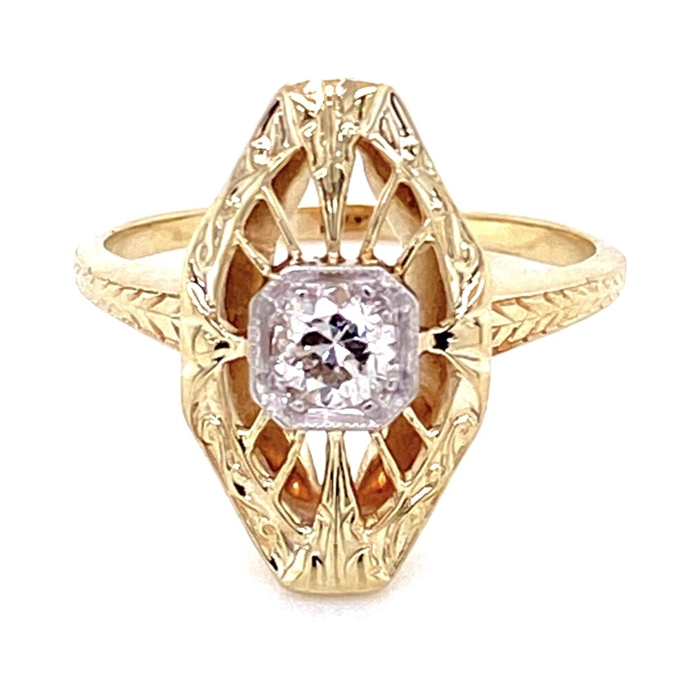 Image 7 for 14K 2 tone Art Deco Ring with .25ct OEC Diamond, s6