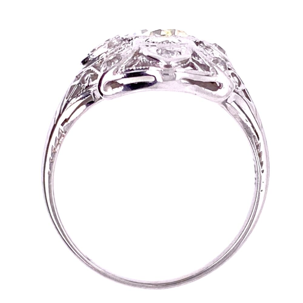 18K WG Art Deco .40tcw & .16tcw Diamond Filigree Ring, s5