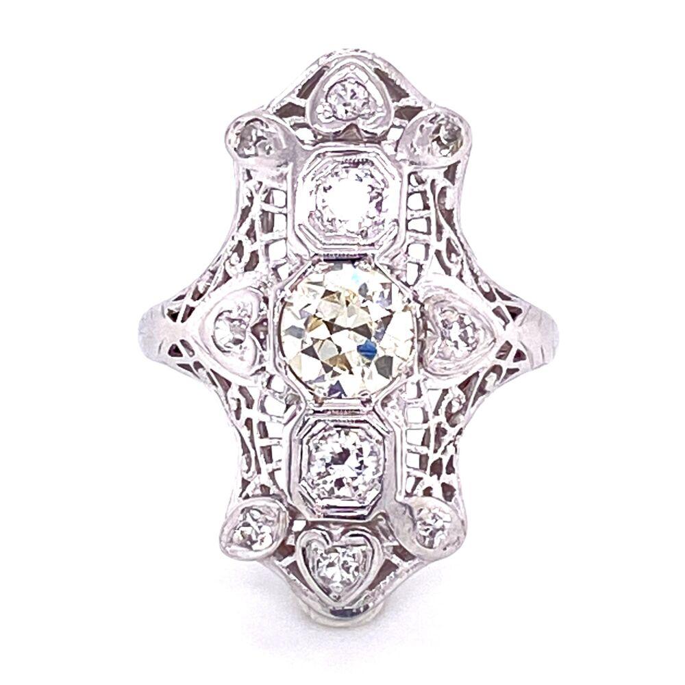 Image 2 for 18K WG Art Deco .40tcw & .16tcw Diamond Filigree Ring, s5
