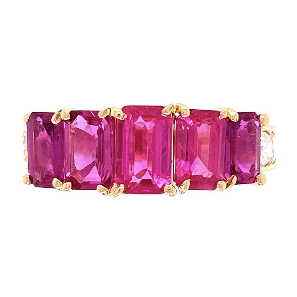 18K YG 5 Ruby are 2.87tcw & .82tcw Diamond Ring