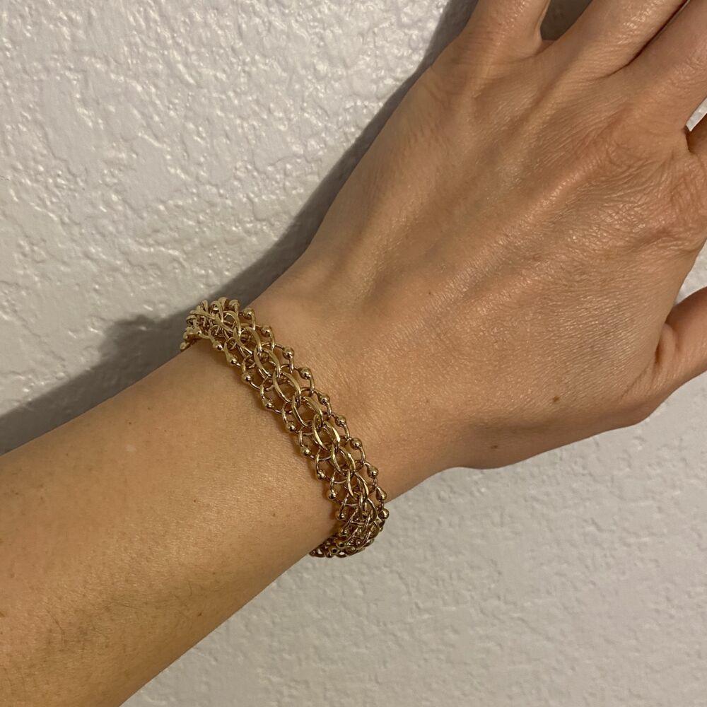 "14K YG Link Charm Bracelet 24g, 7"""