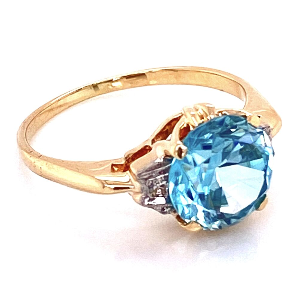 Image 2 for 14K YG Edwardian 4ct Round Blue Zircon & .04tcw Diamond Ring, s6