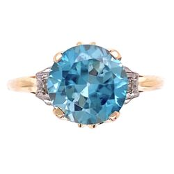 Closeup photo of 14K YG Edwardian 4ct Round Blue Zircon & .04tcw Diamond Ring, s6
