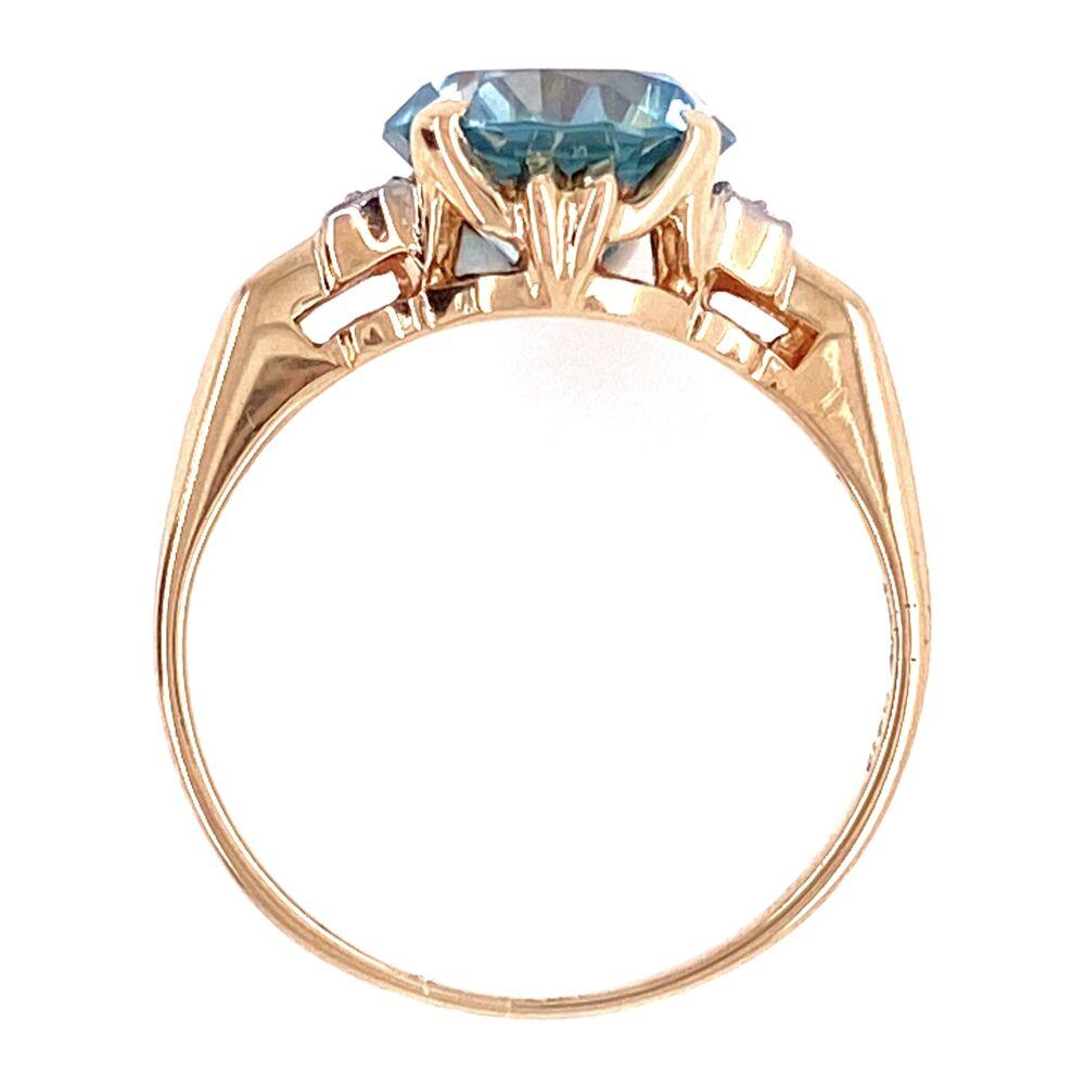 14K YG Edwardian 4ct Round Blue Zircon & .04tcw Diamond Ring, s6