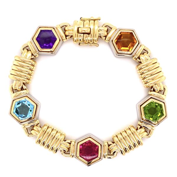 Closeup photo of 18K YG Multi Gemstone Bracelet 67.2g, 7.5""