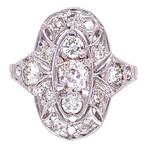 Closeup photo of Platinum Art Deco Filigree Cluster Ring 1.00tcw Diamonds, s7