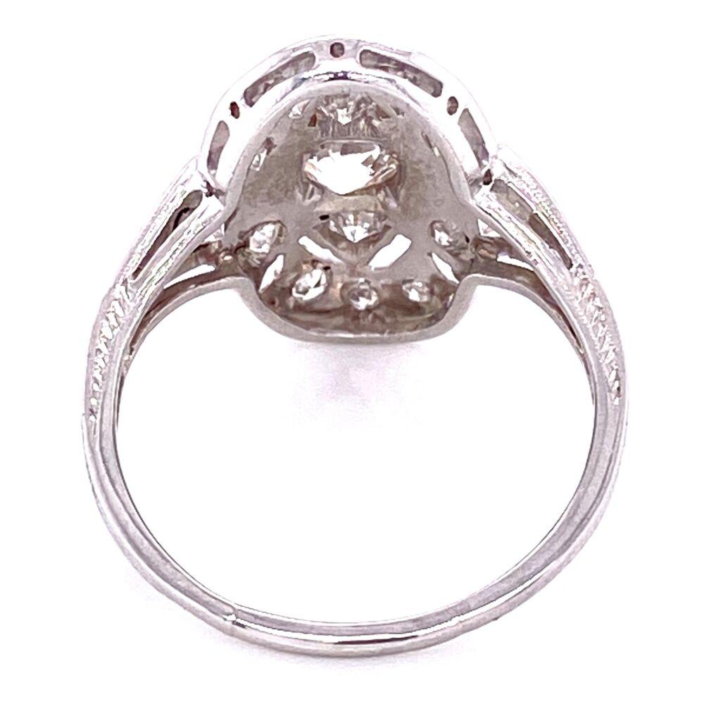 Platinum Art Deco Filigree Cluster Ring 1.00tcw Diamonds, s7