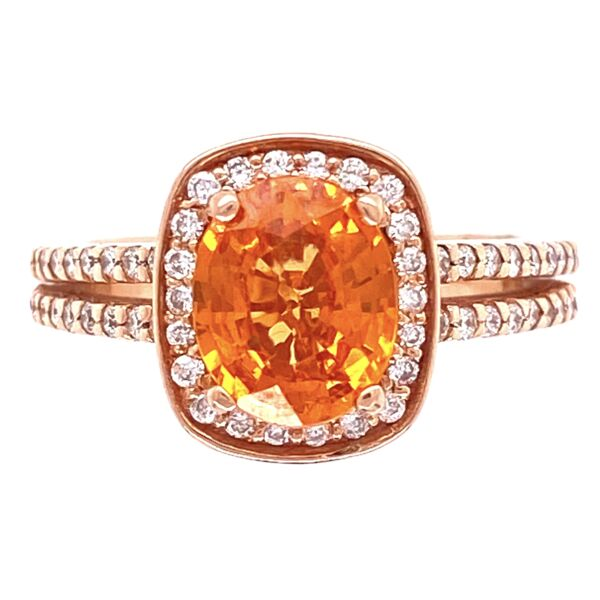 Closeup photo of 14K Rose Gold 1.65ct Spessartite Garnet & .55tcw Diamond Ring, s4.5