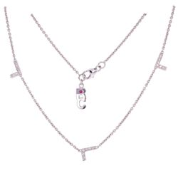 """Closeup photo of 18K WG ROBERTO COIN Diamond LOVE Necklace with 5 L's .30tcw, 5.4g, 16"""" Long"""