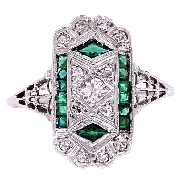 Closeup photo of 18K WG Art Deco Filigree .22tcw Diamond & Emerald Ring, s7