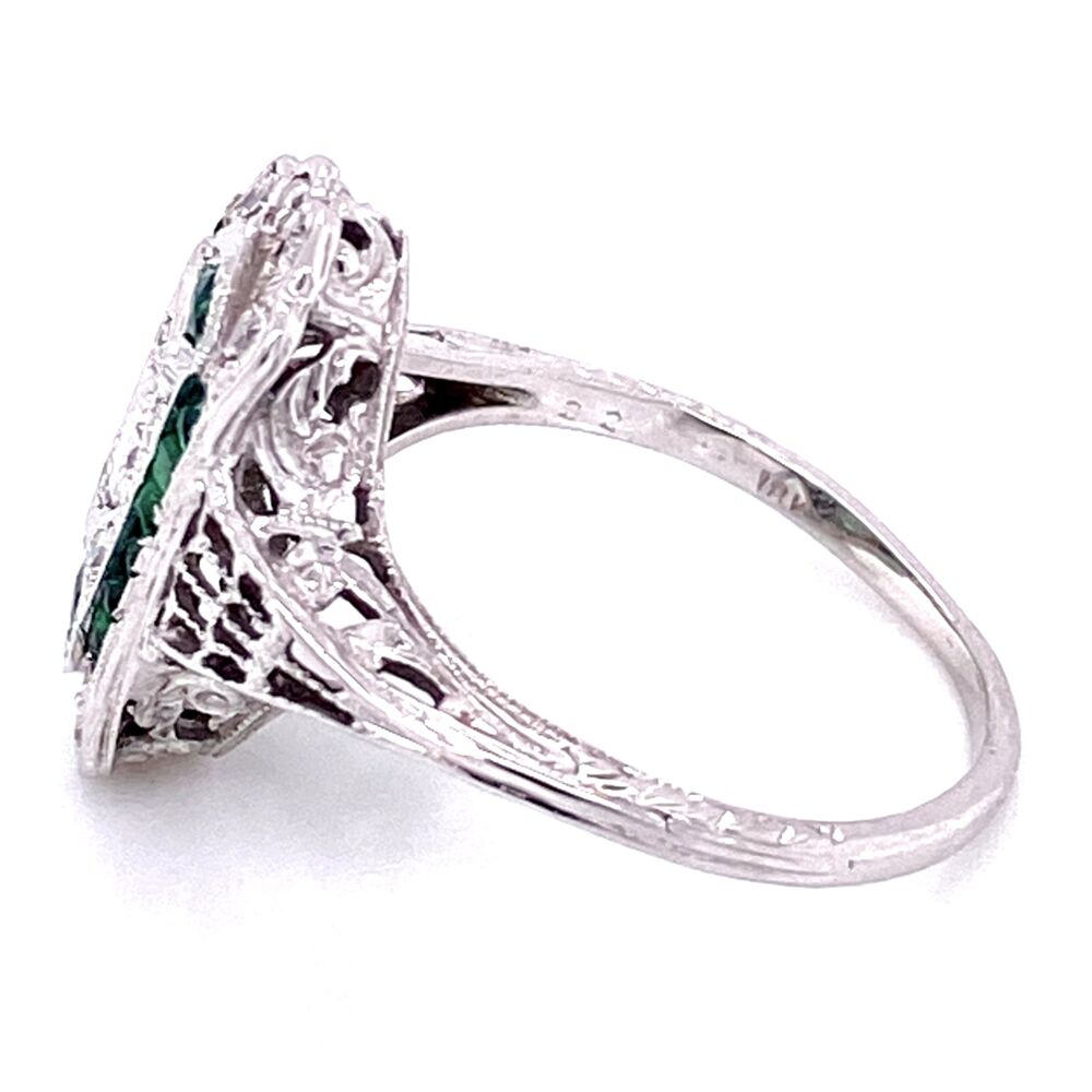 18K WG Art Deco Filigree .22tcw Diamond & Emerald Ring, s7