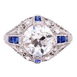 Closeup photo of Platinum Art Deco 2.22ct GIA H-VS1 OEC & .22tcw Diamond Ring, s6.5