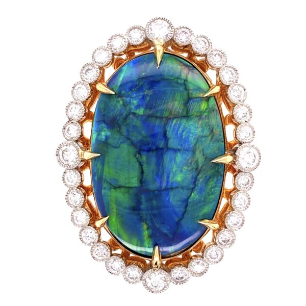Closeup photo of Platinum 18.41ct Black Opal & 1.80tcw Diamond Ring 16.9g, s7