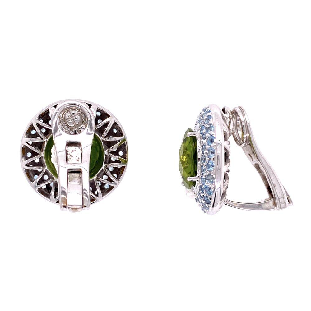 Image 2 for 18K Laura M Peridot and Aquamarine Earrings 14.1g