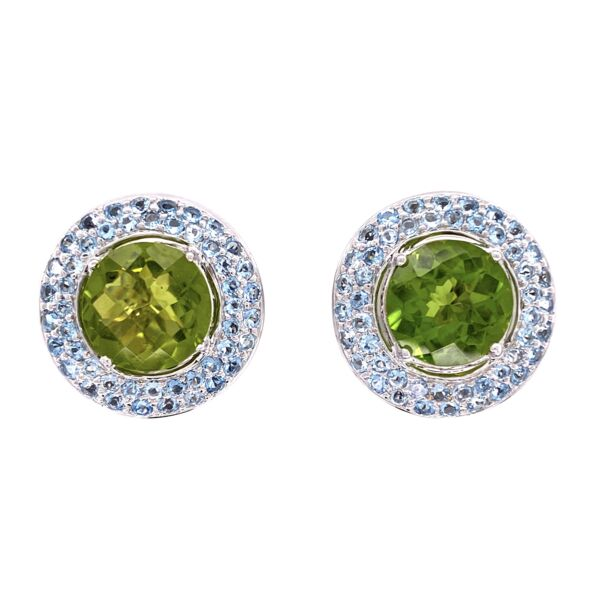Closeup photo of 18K Laura M Peridot and Aquamarine Earrings 14.1g
