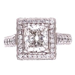 Closeup photo of Platinum 2.01 Princess G-Si2 Diamond Engagement Ring, All iced out!