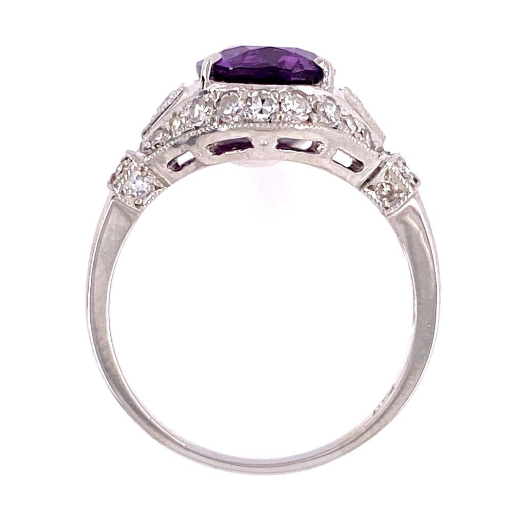 Image 2 for Platinum 3.55ct Oval Purple Sapphire & .45tcw diamond Ring GIA