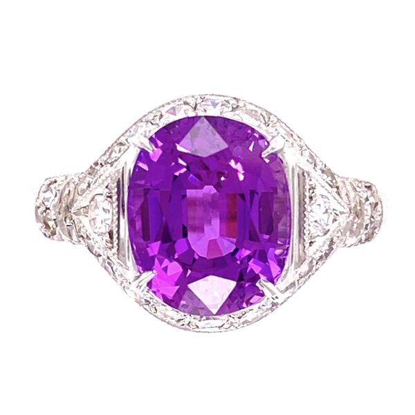 Closeup photo of Platinum 3.55ct Oval Purple Sapphire & .45tcw diamond Ring GIA