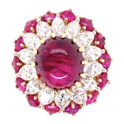 Closeup photo of Very Fine 4.91ct Ruby Cabochon BURMA NO HEAT GIA  &  1.50tcw Diamond Ring