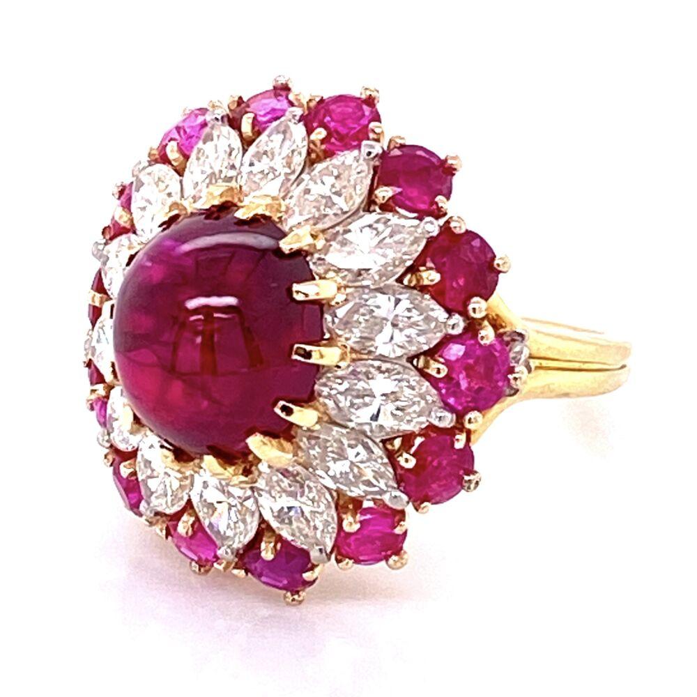 Very Fine 4.91ct Ruby Cabochon BURMA NO HEAT GIA  &  1.50tcw Diamond Ring