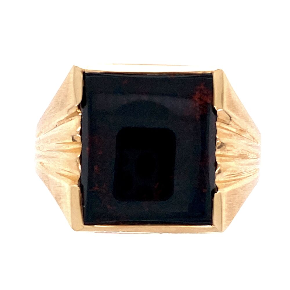 Image 2 for Yellow Gold Men's Square Bloodstone Victorian Revival Ring