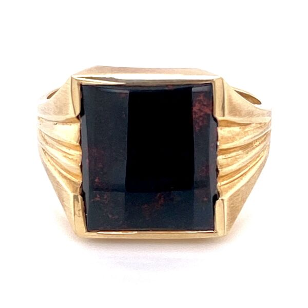 Closeup photo of Yellow Gold Men's Square Bloodstone Victorian Revival Ring