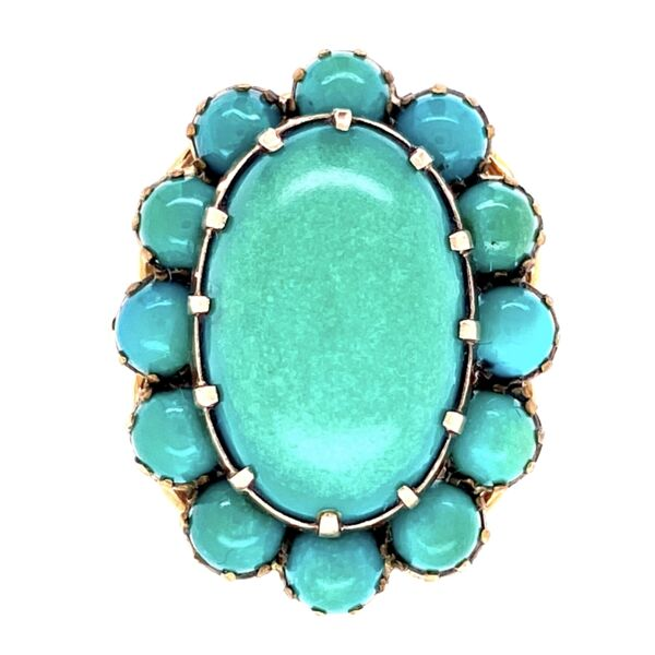 Closeup photo of Victorian Green-Blue Turquoise Cluster Dome Ring