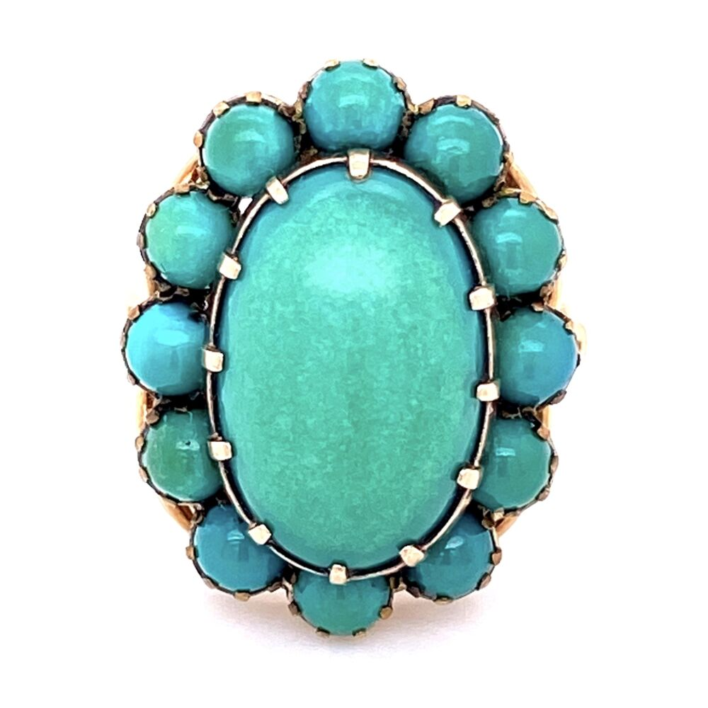 Victorian Green-Blue Turquoise Cluster Dome Ring