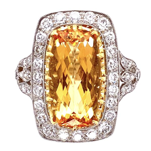 Closeup photo of Platinum Art Deco Style Imperial Topaz & Diamond Ring