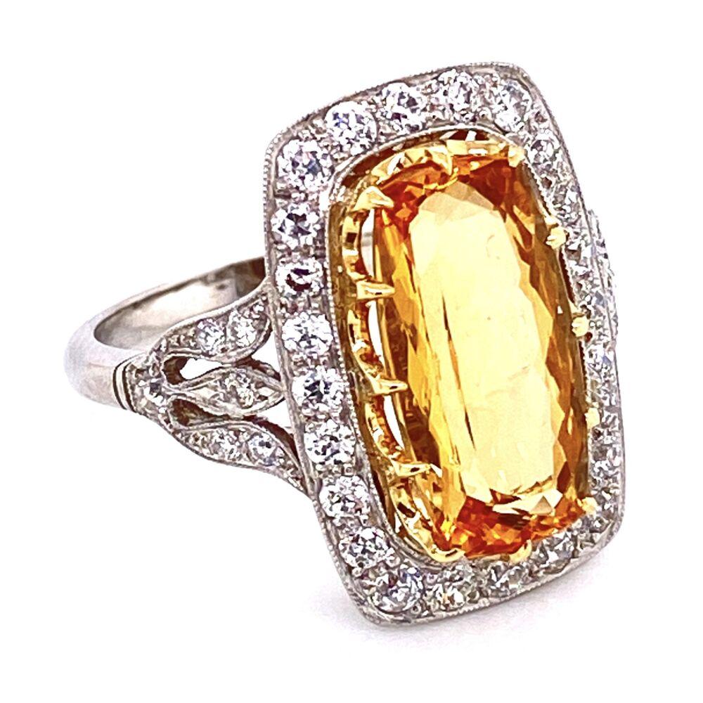 Image 2 for Platinum Art Deco Style Imperial Topaz & Diamond Ring