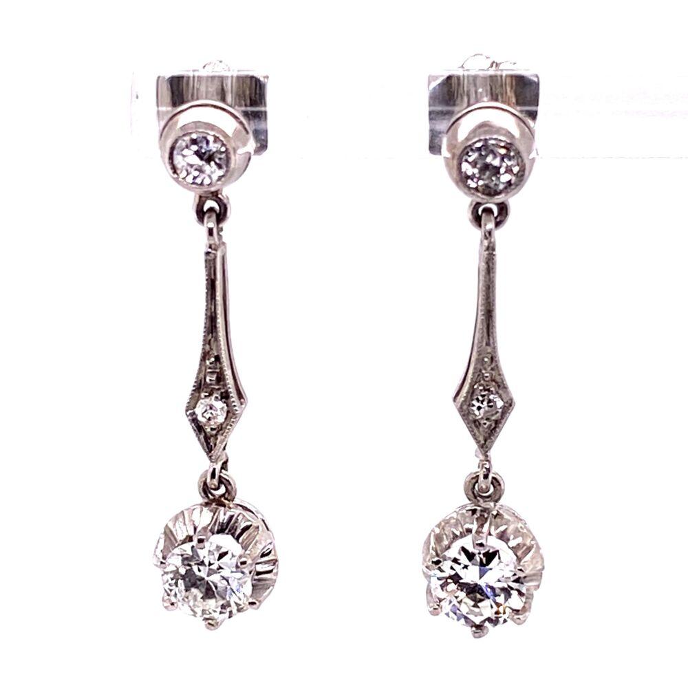 Image 2 for Platinum Diamond Drop Earrings 1.20tcw