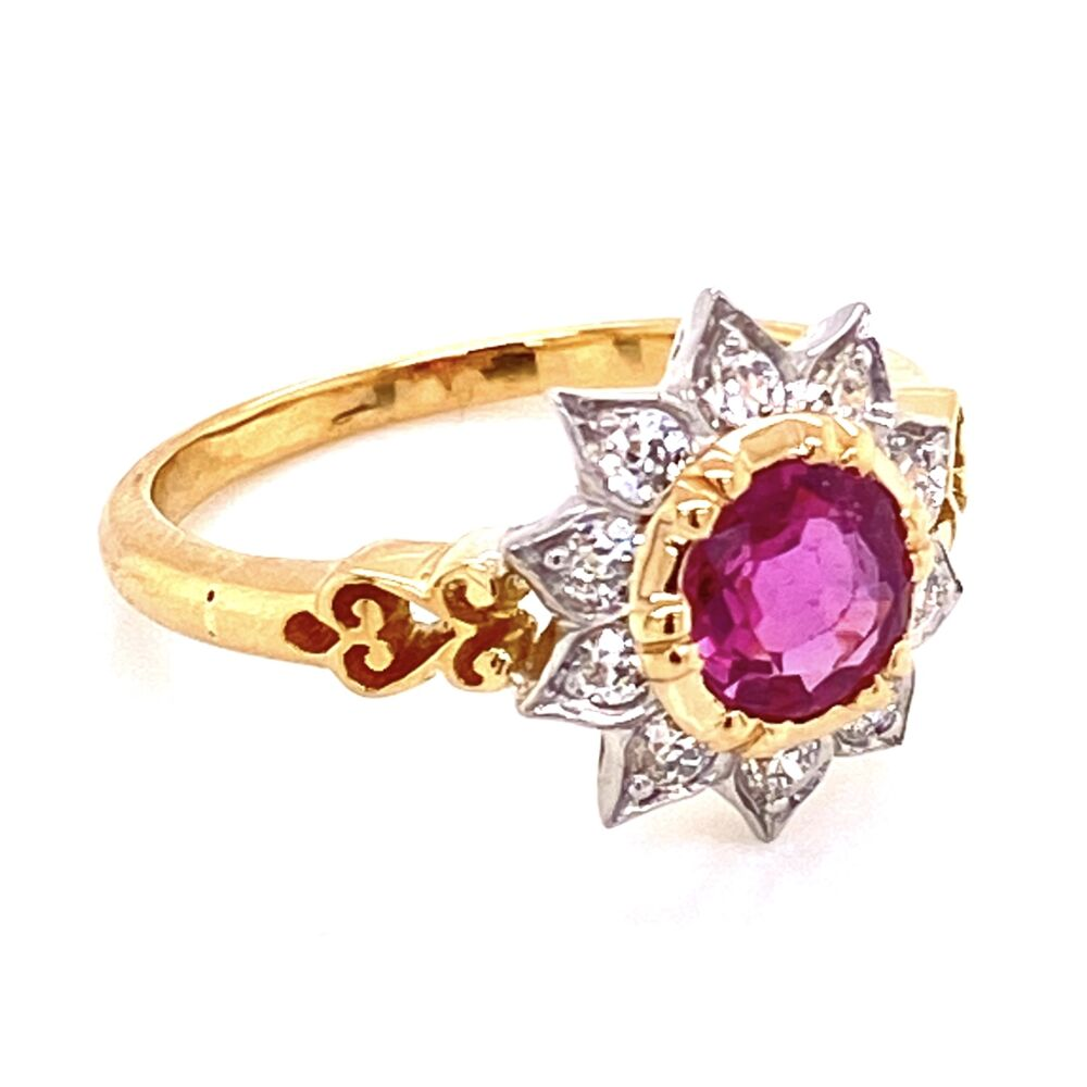 18K YG & Platinum 1ct Ruby & .38tcw Diamond Ring, s7