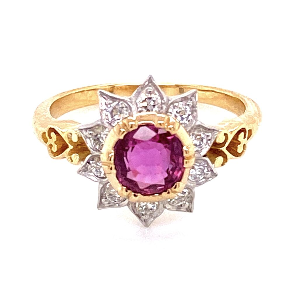 Image 2 for 18K YG & Platinum 1ct Ruby & .38tcw Diamond Ring, s7
