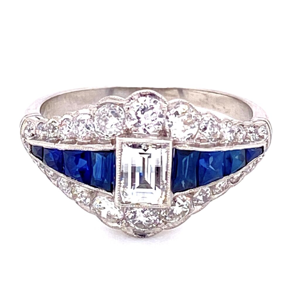 Platinum .51ct Checkerboard Cut Diamond & 1tcw Sapphire Ring with .90tcw side diamonds