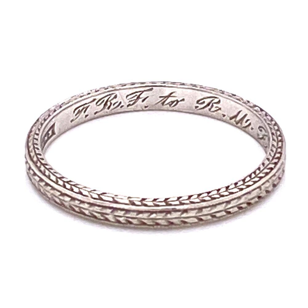 Platinum Art Deco Engraved Band Ring s6, c1925, 2.3g