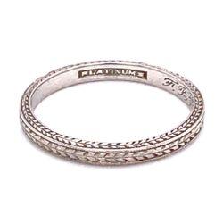 Closeup photo of Platinum Art Deco Engraved Band Ring s6, c1925, 2.3g