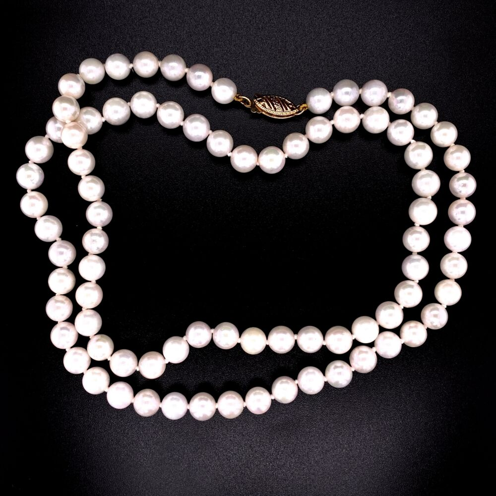 Image 2 for 14K YG 6.5mm Akoya Pearl Necklace Strand 21""