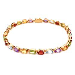 "Closeup photo of 14K YG Mulit Color Pear Shape Gemstone Bracelet 6.6g, 7.5"""