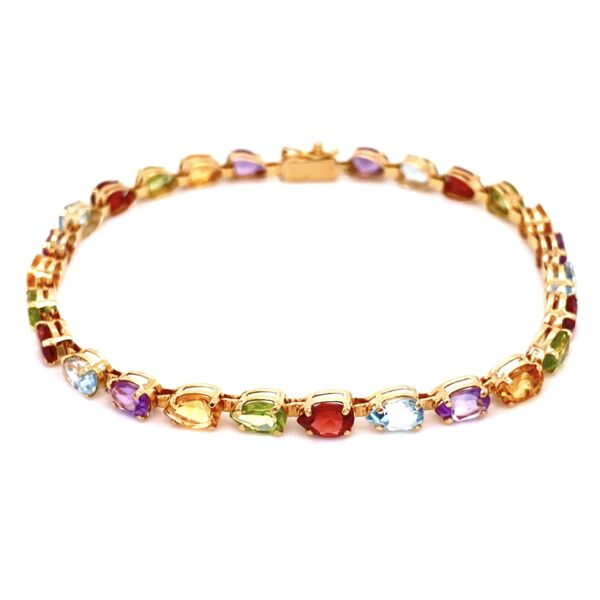 Closeup photo of 14K YG Mulit Color Pear Shape Gemstone Bracelet 6.6g, 7.5""
