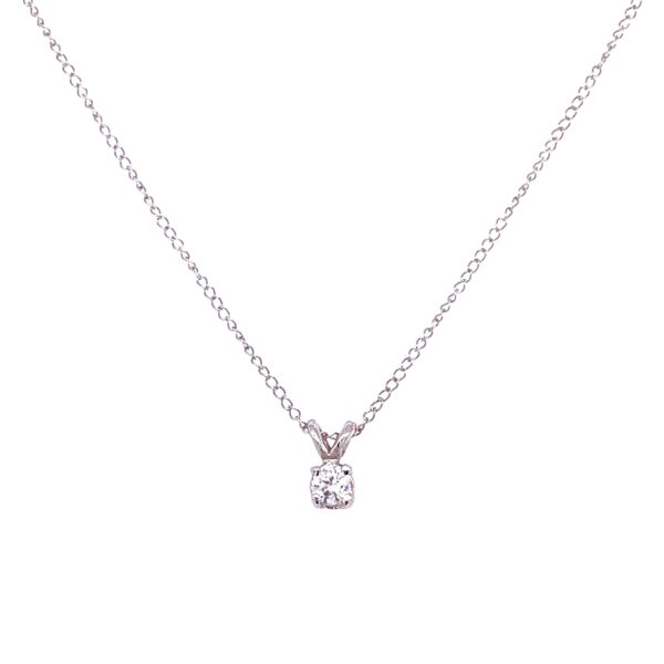 Closeup photo of 14K WG Solitaire Diamond Necklace .20ct Round Brilliant 1.0g, 16""