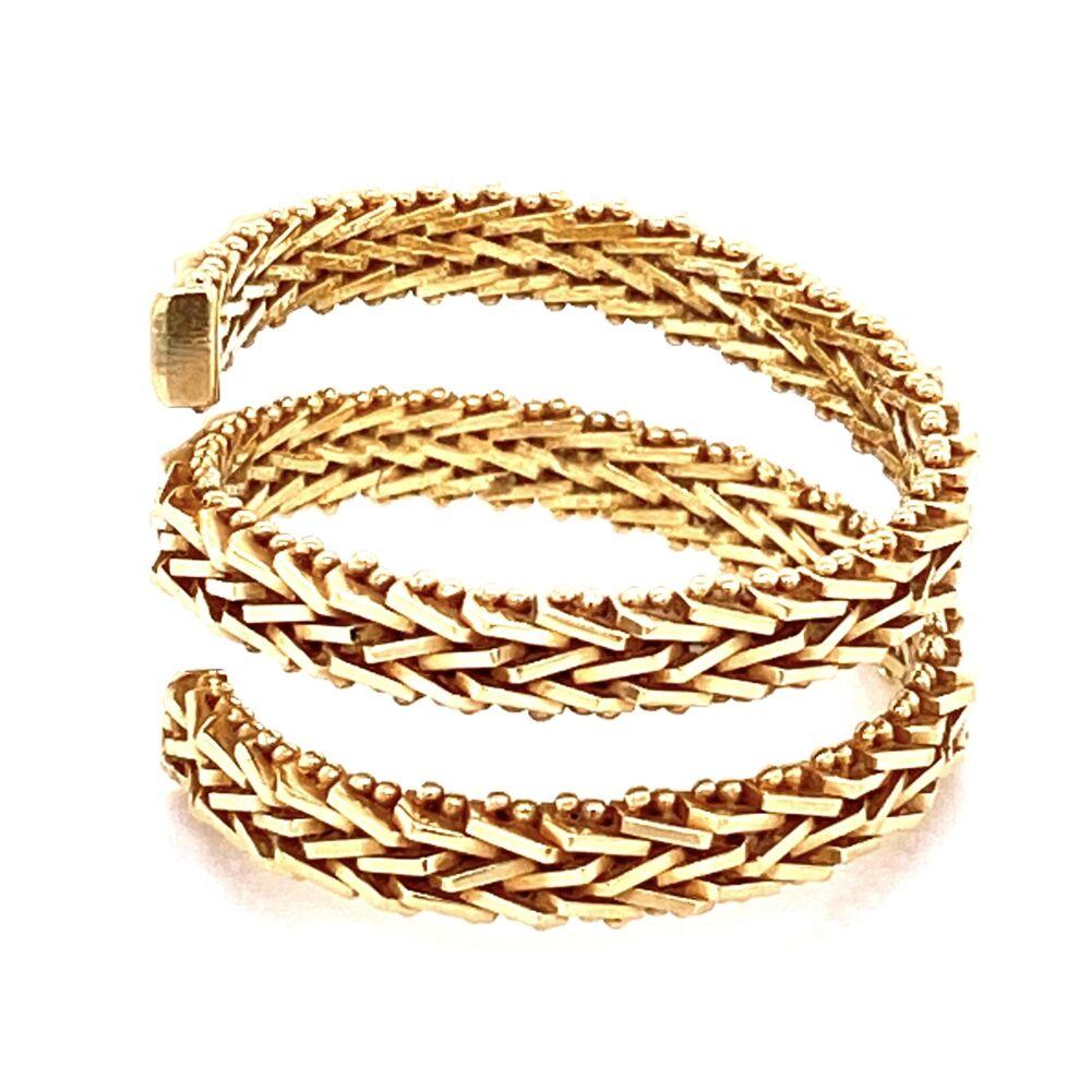 14K YG Wrap around Weave Ring 6.15g, s8