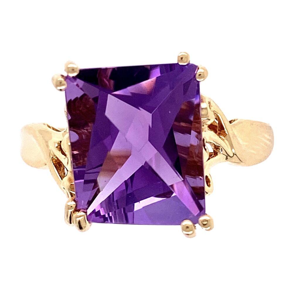 Image 2 for 14K YG Custom Angular Cut Amethyst Ring 3.9g, s9.25