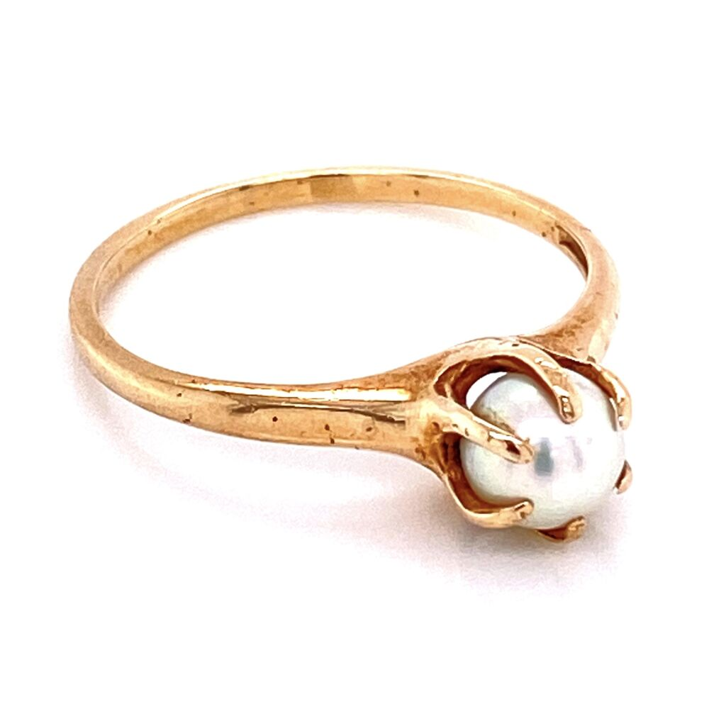 Image 2 for 10K YG Victorian Classic 6 Prong Pearl Solitaire Ring 1.8g