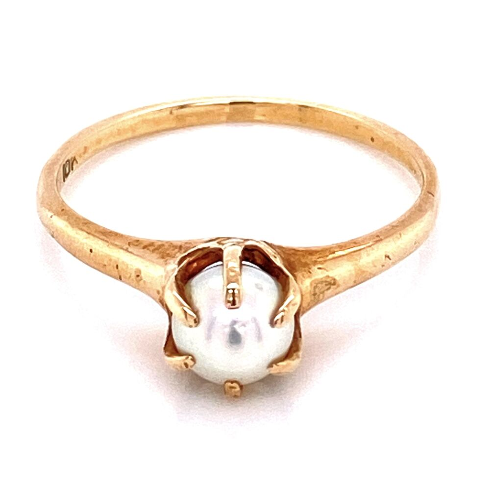 10K YG Victorian Classic 6 Prong Pearl Solitaire Ring 1.8g