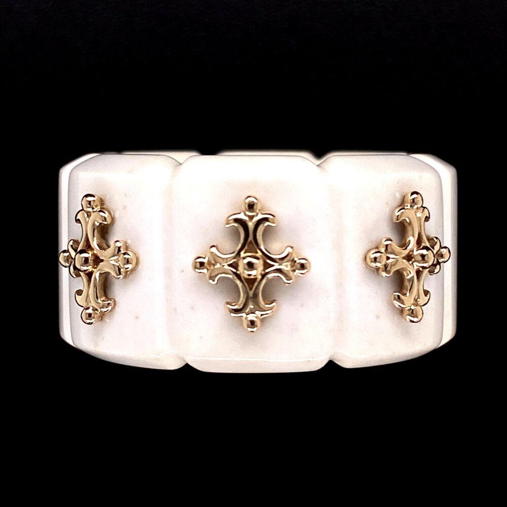 Image 2 for 14K YG & Carved Bone Ring with Maltese Cross Designs 7.6g
