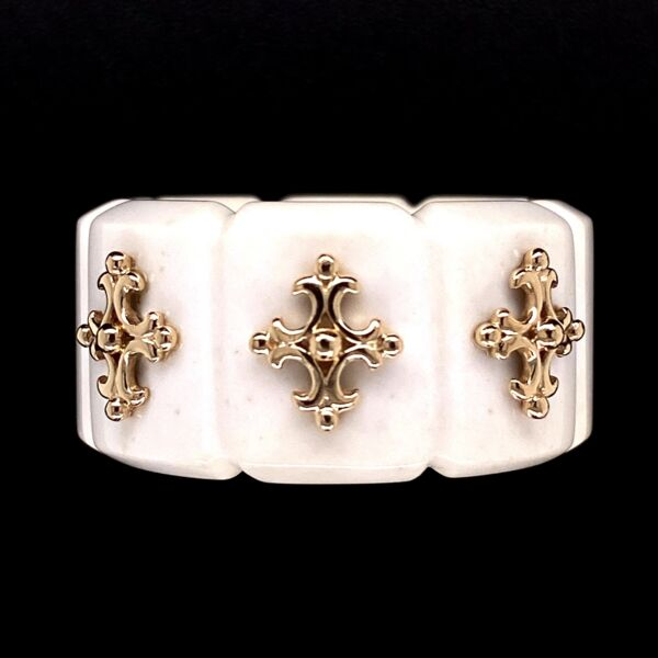 Closeup photo of 14K YG & Carved Bone Ring with Maltese Cross Designs 7.6g