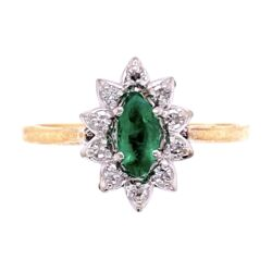 Closeup photo of 10K 2tone Marquise Emerald & Diamond Ring 2.3g, s8.5