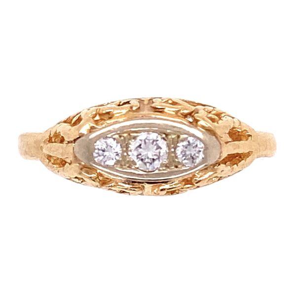 Closeup photo of 14K YG 1950's 3 stone Diamond Ring .15tcw 2.6g, s4