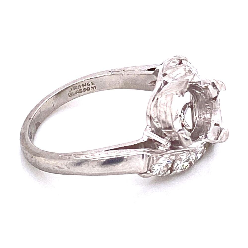Image 2 for Platinum Art Deco 2 Stone semimount Ring with Diamonds 6.4g
